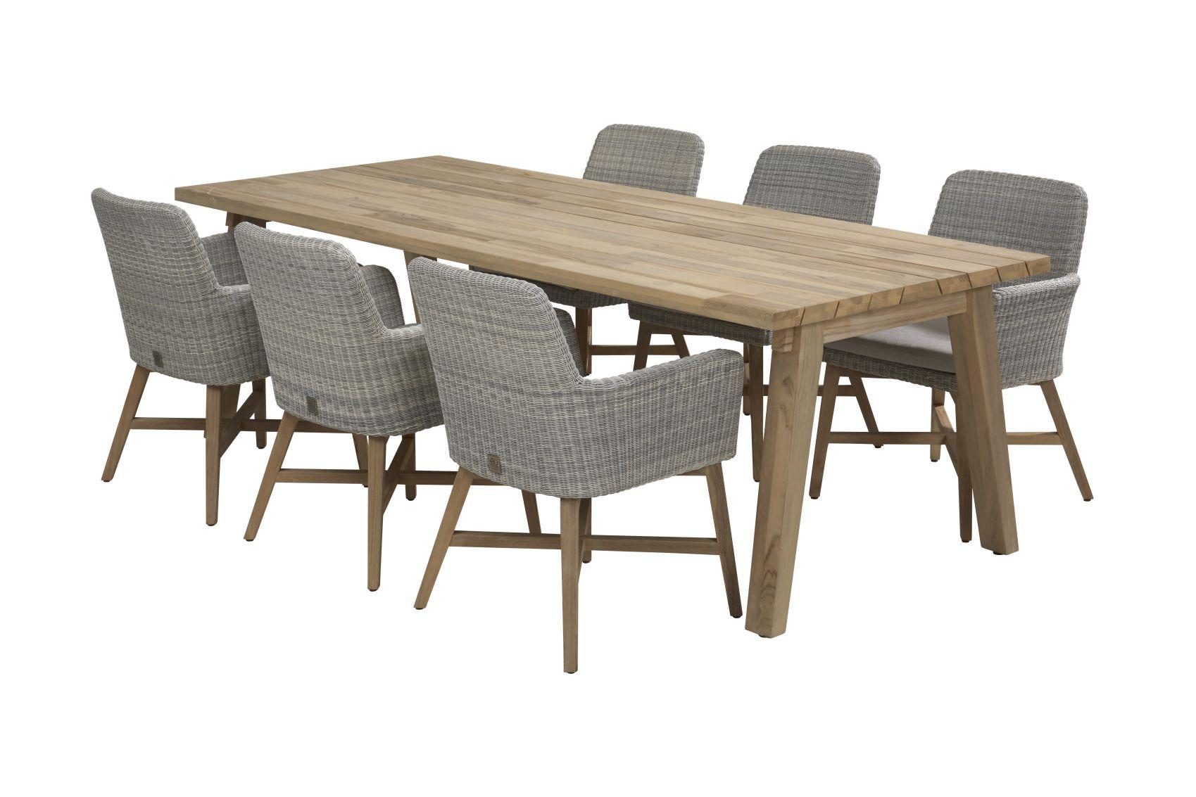 4 seasons outdoor lisboa diningset met derby dining tafel teak sale latour. Black Bedroom Furniture Sets. Home Design Ideas