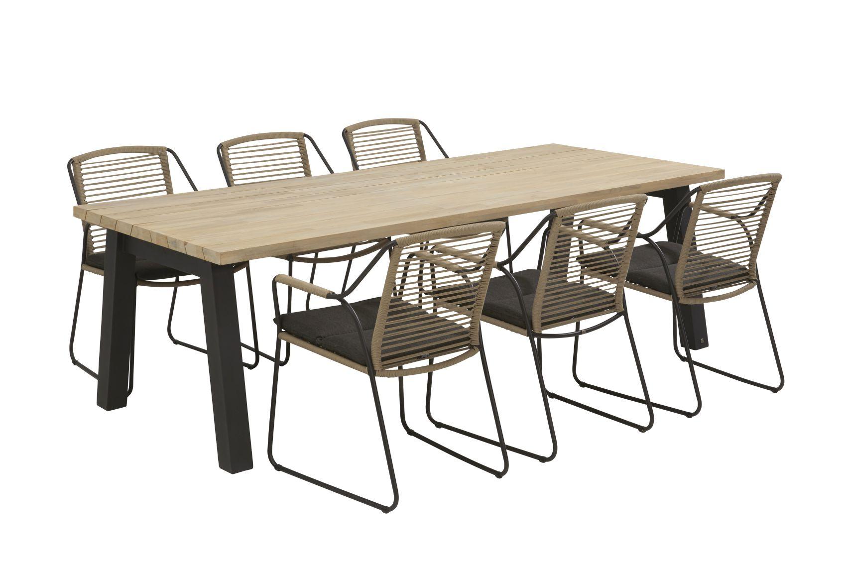 4 seasons outdoor scandic dining set derby dining tafel teak top met aluminium poten sale. Black Bedroom Furniture Sets. Home Design Ideas