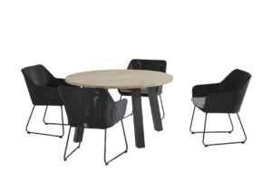 4 Seasons Outdoor Avila  polyloom antraciet met ronde eettafel derby