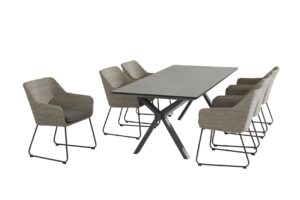 4 Seasons Outdoor Avila polyloom pebble met vesper tafel eetset 220x95cm