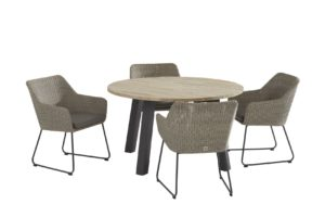 4 Seasons Outdoor Avila polyloom pebble met ronde eettafel derby