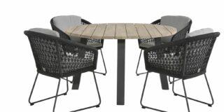 4 Seasons Outdoor Mila Gartenmöbelset mit Derby tisch Ø 130 cm