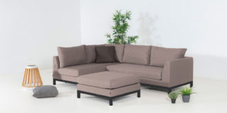 Flow. Square Chaise Sofa taupe chiné rechts