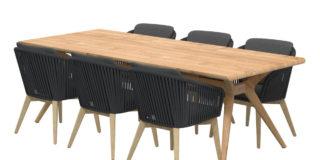 4 Seasons Outdoor Santander Esstischgarnitur black mit Bel Air Teakholz Tisch 240 cm